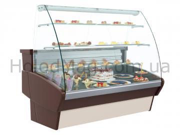 Витрина для кондитерских изделий Полюс Plum ВХСд с гнутым стеклом