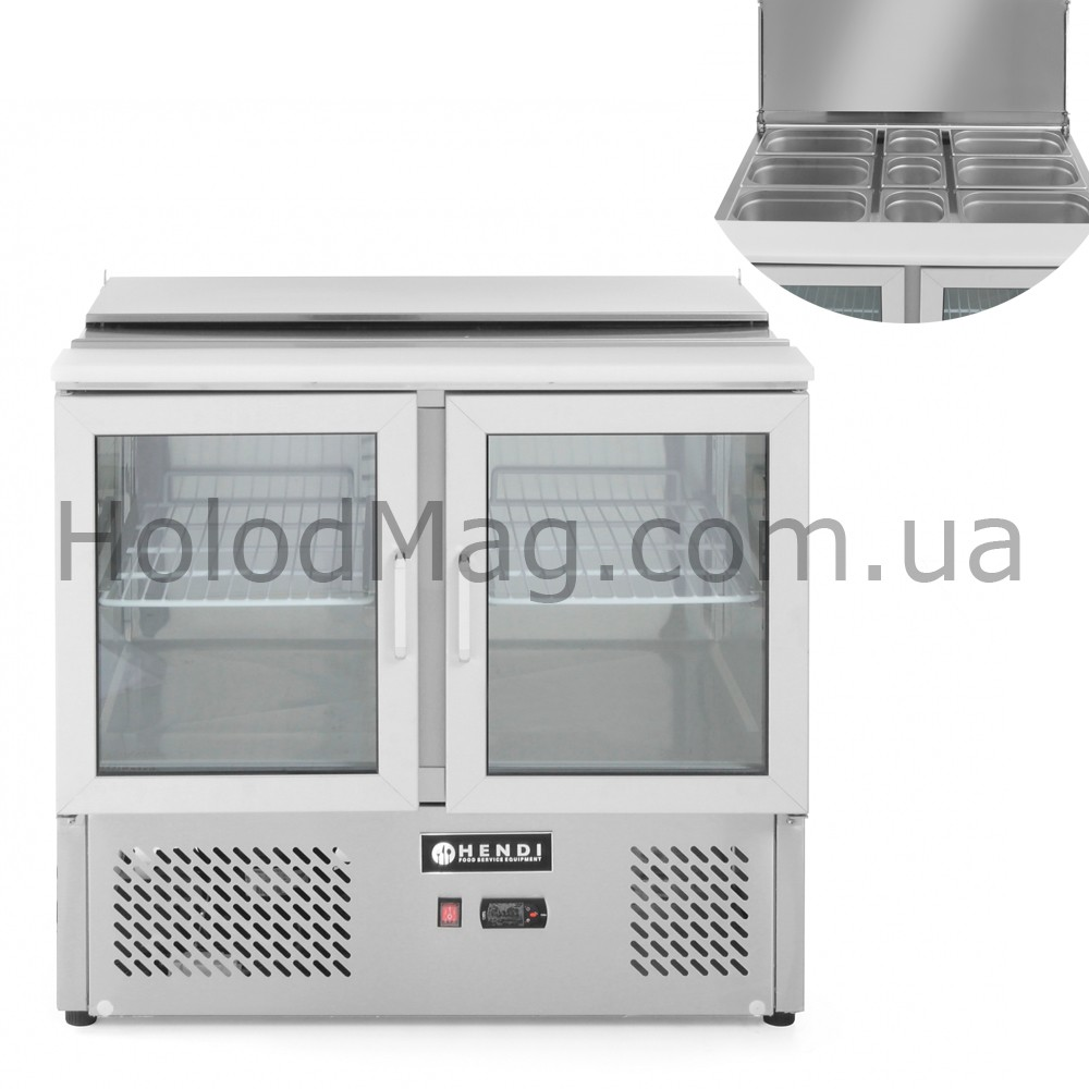 Стол холодильный 2-дверный застекленный саладетта Hendi 232743