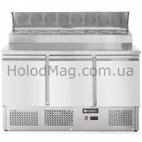 Стол холодильный 3-дверный саладетта с надстройкой Hendi 232897