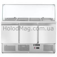 Стол холодильный 3-дверный саладетта со стеклянной витриной Hendi 232798